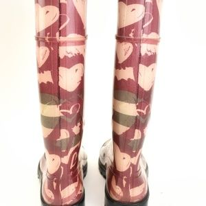 "Burberry Shoes - BURBERRY: Raspberry ""Heart Check"" Rain Boots"